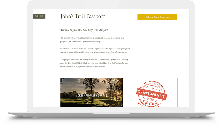 Trail Passport page on laptop screen